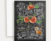 Autumn Note Card - Apple Card - Apple Cider Illustration - Unique Thanksgiving Card - Chalkboard Art