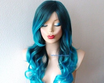 Turquoise Teal Ombre wig. Pastel wig. Long curly hairstyle wig for daily use or Cosplay..