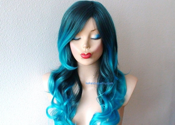 turquoise teal ombre wig pastel wig long curly hairstyle wig. Black Bedroom Furniture Sets. Home Design Ideas