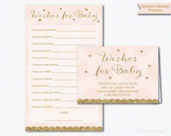 Wishes for Baby Card Baby Shower Games Pink Gold Baby Girl Shower Instant Download Baby Sprinkle Games Girl Shower Wishes Shower Activity