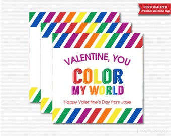 Valentine's Day Tags You Color My World Tags Printable Personalized Valentines Tags Gift Tags Crayons Valentines Favors Valentines Day Party