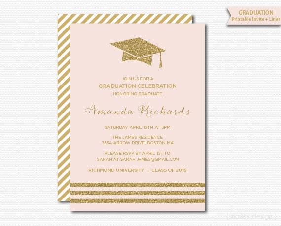 Pink Gold Graduation Invitation