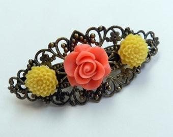 Girls hair clip CLEARANCE ITEM Flower hair clip / Antique Brass Hair Barrette with 3 resin flower VSB6383