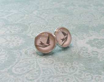 Delicate bird 12 mm glass cab earrings silver tone gift ideas for her