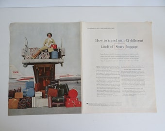 1960s Sears Luggage and TWA Advertisement - McCall's Magazine - How to Travel with 42 Different Kinds of Sears Luggage Sears Print Ad - TWA