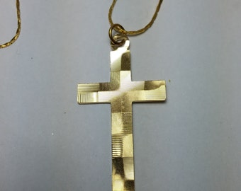 C Gold Tone Cross Necklace