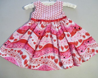 Toddler Dress Red Hearts Size 3T