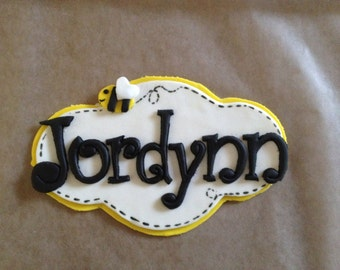 Bumble Bee Inspired Fondant Name Plaque