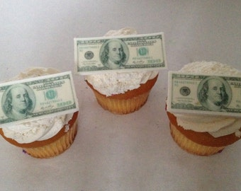 100 Dollar Bill Fondant Cupcake Toppers