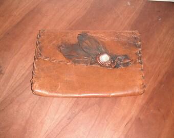 Beautiful soft leather laced clutch purse