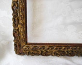 Carved wood frame, decorative frame, vintage ornate frame, 8 x 10, rustic and distressed