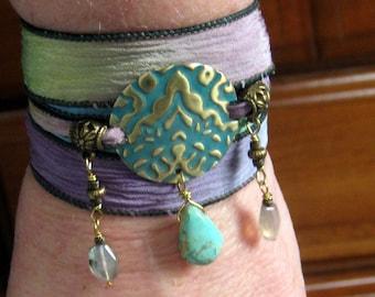 Turquoise Labradorite Hand Stamped - Hand Dyed Silk Ribbon Wrap Bracelet