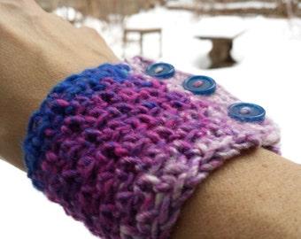 Blue Magenta Pink Wrist Warmer Cuff Bracelet Festival Crochet Handmade Nature Vegan Elf Pixie
