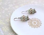 """Beaded earrings """"Hrithik"""" for women beaded beads beige turquoise"""