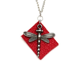 Red leather and dragonfly necklace