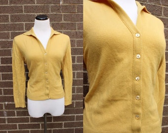 Dalton Mustard Yellow 1950s Cashmere Sweater Cardigan Medium Large