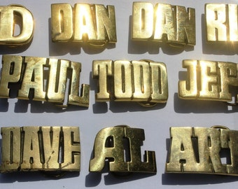 Vintage Brass Belt Buckle Retro Names Dan Ed Art Dave