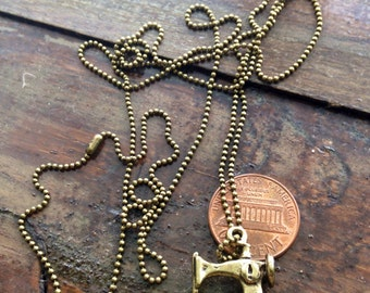 Nimble Lil Thing. Miniature Sewing Machine Ball-Chain Necklace