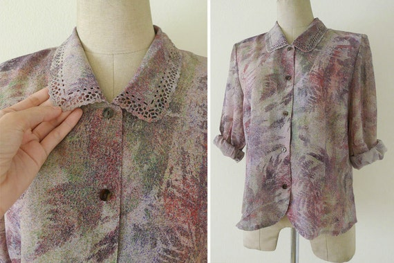 Beautiful vtg purple tone Laser Cut Stencil Collared Blouse, impressionist leaf print, office blouse, long sleeve, multicolor,slouchy, S-M-L
