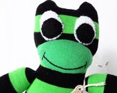 Sock frog, sock animal, softie, plush toy sock monkey. Fergus Frog.