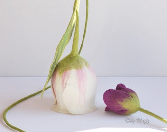 Tulip white pink large flower decoration for the window