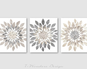 Modern Flower Bursts Neutral Colors Fine Art Print Set of (3) 5x7, 8x10 OR 11x14 Grey, Tan, Dust, Cottage, Home, Apartment Wall Art UNFRAMED