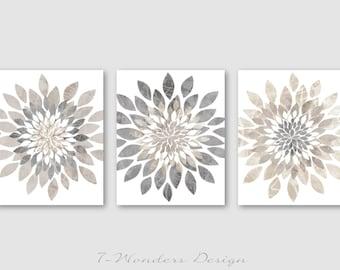 Modern Flower Bursts Neutral Colors Fine Art Print Set of (3) 5x7, 8x10 OR 11x14 Grey, Tan, Dust, Cottage, Home, Apartment Wall Art UNFRAMED