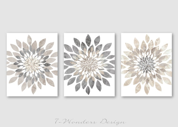 Neutral Wall Art modern flower bursts neutral colors fine art print set of 3