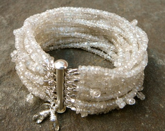 MultiStrand  Gemstone Champagne Zircon Cuff Bracelet