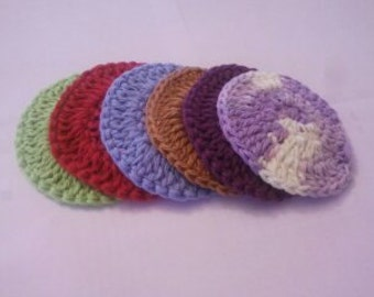 READY TO SHIP Set of 6 Spa Pads, Makeup Removers, Face Scrubbies Handmade Reusable Cotton Pads