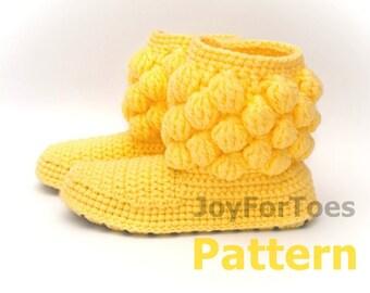 """Crochet Pattern JoyForToes """"Home Slippers BUBBLES"""", size: 38 EUR, 8 US"""