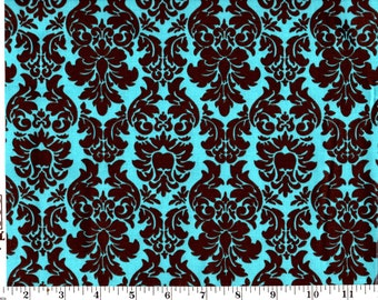 35 Inches, Brown Damask on Teal Cotton