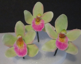 sugar flowers cymbidium orchid gum paste sugar edible miniature cake topper wedding bridal mothers day green pink