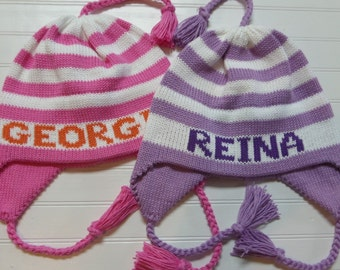 Striped Ear flap hat with  name