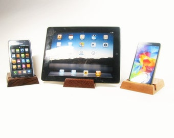Solid wood ipad, iphone stand.  Oak, Black Walnut or Lace wood.