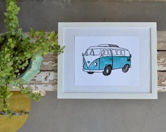 Retro VW Bus watercolor 8.5x11 Digital Print