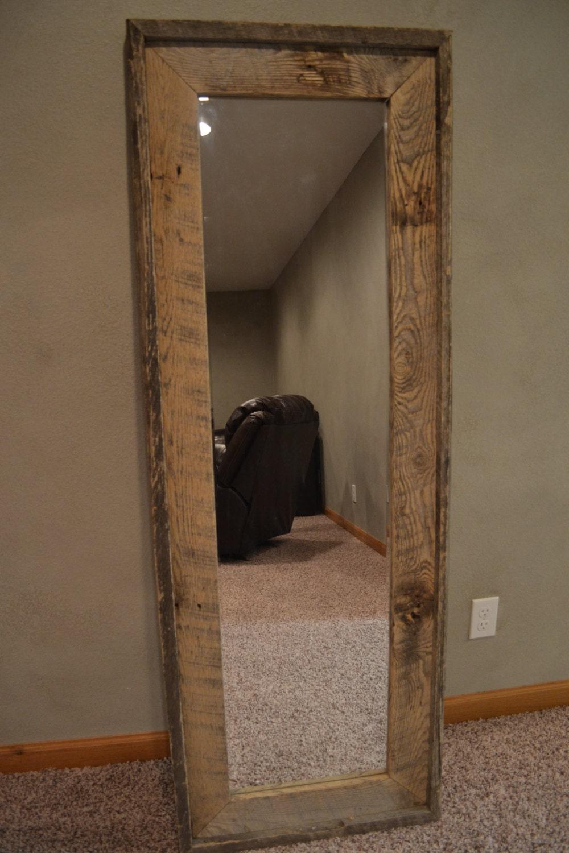 Reclaimed barnwood full length standing mirror by lstalz for Full length standing mirror