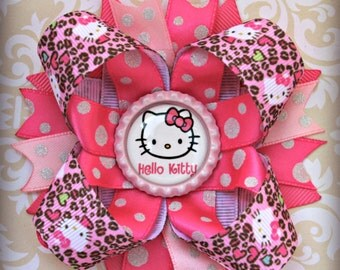 Leopard Hello Kitty stacked layered hair bow