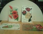 Vintage Flower Design Postcards - Early 1900s - Set of Four - LOT 7