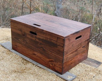 Wooden Crate/ Coffee Table/ Toy Chest/ Large Storage Box/ Red Mahogany