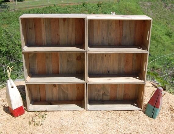 Caisses en bois mur unit biblioth que rangement - Bibliotheque caisse bois ...