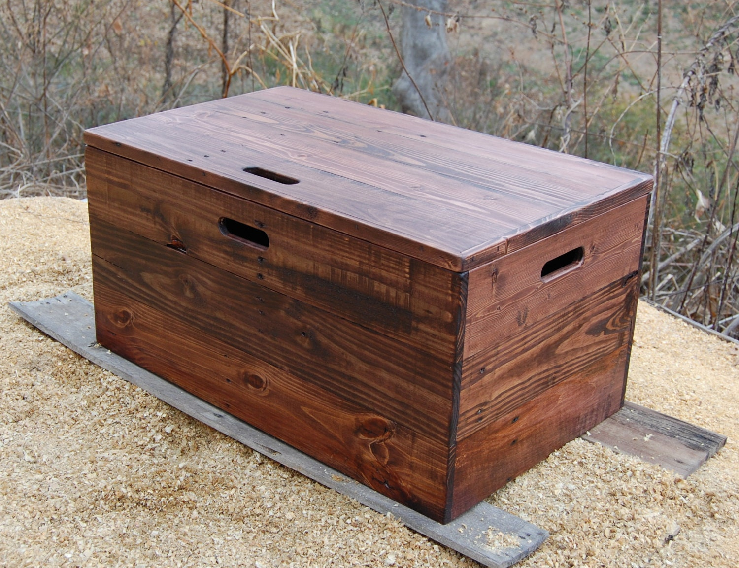 Wooden Crate Coffee Table Toy Chest Large Storage Box Red