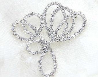 Crystal buckle, Rhinestone brooch, Wedding buckle, Sash decoration,Wedding decoration, Corsage - Nothing at back/Pin back
