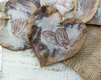 Sweets wooden heart ornaments Valentines day decor Valentine gift rustic off white sepia brown shabby wedding favors bridal shower