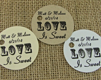 Personalized Favor Tags - 2 Inch Round - Wedding  Favor Tags - Engagement Party Tags  Design - 20 Handmade Tags