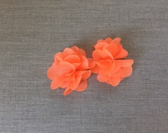 Neon orange hair clips
