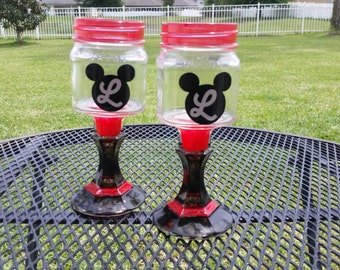 Personalized Mickey Mouse Mason Jar Wine Glass - Colored Glass - Black and Red - One Glass - Birthday Party - Monogrammed
