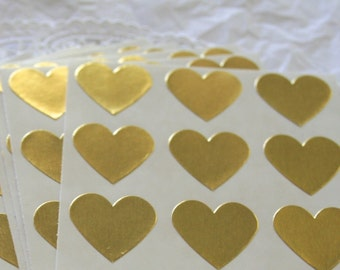 "Large GOLD Heart Stickers, 1.5"" Sticker Seals, 6 COLORS"