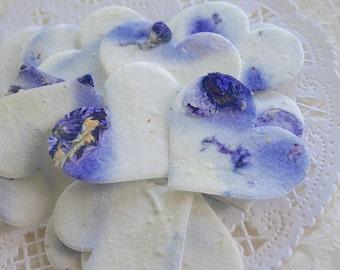 50 Plantable PURPLE Wildflower Seed Paper Confetti, Eco Friendly, Seeded Hearts Confetti
