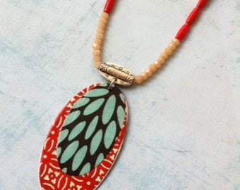 Locket Necklace - boho chic - paper jewelry - red coral- japanese paper